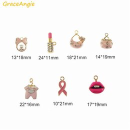 lipstick for girls Australia - GraceAngie 7pcs Pink Enamel Shiny Gold Color Base Pendant Women Girl Purse Lipstick Bowknot Shape Charm for DIY Earring Jewelry