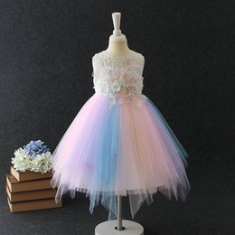 Wholesale performing clothing for sale – halloween 2 to years Summer girls dresses flowers pearls clothes celebration dance perform kids teenager boutique clothing AA806DS