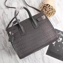 CroCheted tote bags online shopping - Women Leather totes cm Medium size Crocodile grain real cow leather with zipper Mouth Absolutly Reliable High quality casual bags