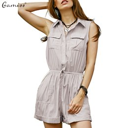 Silk Women S Jumpsuits NZ - Gamiss women summer casual playsuits Black Beige Army green S~XL Pocket jumpsuits sleeveless feminine rompers Soft Silk Satin