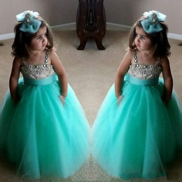 toddler strap NZ - 2018 Turquoise Green Flowe Girls Dresses Cute Spaghetti Birthday Gowns Straps Crystal Beaded Tulle Toddler Pageant Dresses For Girls