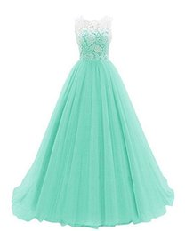 Lace Top Long Tulle Prom Dress UK - 2018 Cheap Long Bridesmaid Dresses Sheer Neckline Tulle Summer Bridesmaid Formal Prom Party Dresses With Lace Top