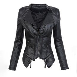 $enCountryForm.capitalKeyWord Canada - Black Gothic faux leather PU Jacket Women Winter Autumn Fashion Motorcycle Jacket Coat Punk Zipper Outerwear Plus Size Fall Coat