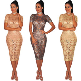 $enCountryForm.capitalKeyWord Canada - Wholesale Hot Fashion 2017 Sexy Rose Gold Hollow Out Crochet Mid Dress O-neck Short Sleeve Slim Bandage Dresses