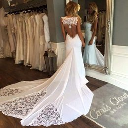 China 2019 New Sleeveless Mermaid Sheath Formal Wedding Dresses Backless Applique Lace Backless Bridal Gowns Custom Size supplier sweetheart trumpet chiffon wedding dress suppliers