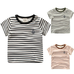 9d87bc9d9 Ropa para niños Camiseta para niñas y niños Verano Nuevo estilo occidental  Rayas frescas de manga corta con cuello o top