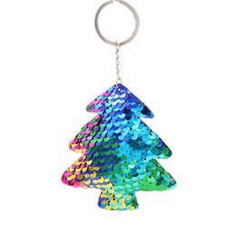 double rings chains UK - mrwonder Double Side Reflective Sequin Christmas Tree Key Ring Delicate Charm Key Chain san0