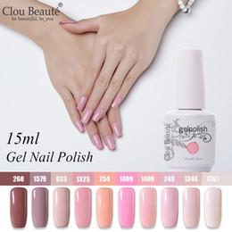 Venta al por mayor de Clou Beaute 10pcs Gel conjunto de laca UV Gel esmalte de uñas Semi permanente LED Barniz Pintura para uñas Soak Off Pink White Hybrid
