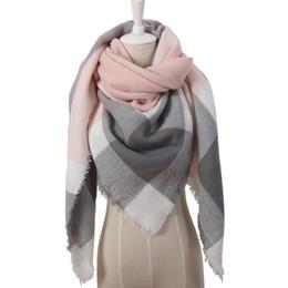 Tie dye blankeT online shopping - Winter Triangle Scarf For Women Brand Designer Shawl Cashmere Plaid Scarves Blanket Fast