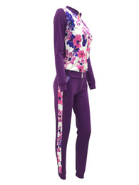 $enCountryForm.capitalKeyWord Australia - Pattern Women Sportsuit 2 Piece Set Floral Print Crop Jacket +Pants Tracksuit Casual Set For Women Female Zipper Tops Fitness Suit O-Neck