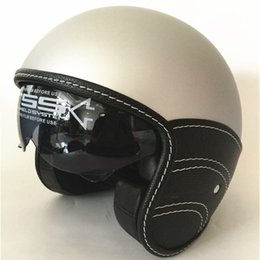 $enCountryForm.capitalKeyWord Australia - New Motorcycle Half Helmet Cruiser 3 4 Open Face Scooter Vintage DOT + Visors +inner dark lens Mate Black XS S M L XL