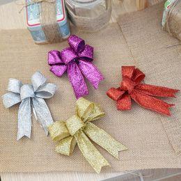 $enCountryForm.capitalKeyWord Australia - 12cm Large Gold Silver Red Purple Glitter Cloth Christmas Bow Christmas Tree Decorations Ornaments for New Year Xams Decor
