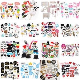 wedding stick photo props UK - 10-60Pcs DIY Photo Booth Props Funny Mask Glasses Mustache Lip On A Stick Birthday Bride Wedding Decoration Party Accessories