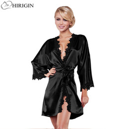 Discount sexy black night dress for ladies - HIRIGIN Ladies Sexy Silk Satin Night Dress Sleeveless Nighties V-neck Nightgown Nightdress Lace Sleepwear Nightwear For