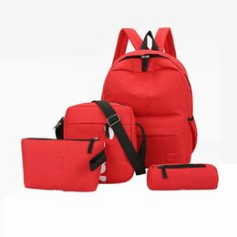 Hottest college backpacks online shopping - Brand hot four pieces letter backpack casual breathable canvas universal multi purpose leisure red black backpacks student shcool bags
