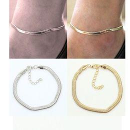 Steel Lock Ankle Canada - fashion metal flat snake chain anklet bracelet on the leg for women beach ankle bracelet foot chain jewelry