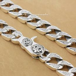 Discount 925 sterling silver mens - Huge & Heavy Solid 925 Sterling Silver Mens Biker Rocker Punk Necklace 8W002N