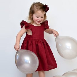 Fly Beach Canada - Baby Dress Summer Girls Dresses Solid Color Fly Sleeve Pleated Princess Dress Children Party Dress Kids Clothing Free Shipping Wholesale 223