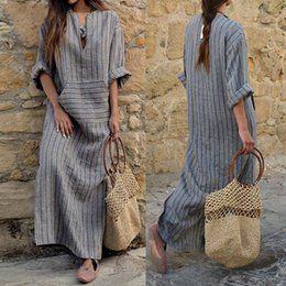 sexy cotton linen dresses Canada - Dresses for Womens Clothes Fashion Dress 2018 Bohemian Dress Womens Ladies Party Cotton Linen Loose A Line Beach Stripe Tunic