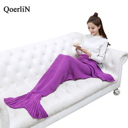 Wholesale purple knit blanket for sale - Group buy QoerliN Warm Bedding Sofa Mermaid Tail Blanket Winter Knitted Christmas Crochet Throw Bed Wrap Sofa Sleeping Fashion Home Bottom