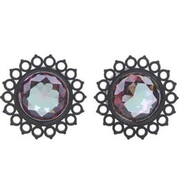 Plugs Jewelry UK - New Arrival 1 Pair Acrylic Black Flower Design Saddle Ear Plug Tunnel Jewelry Body Piercing 9-16mm Choose