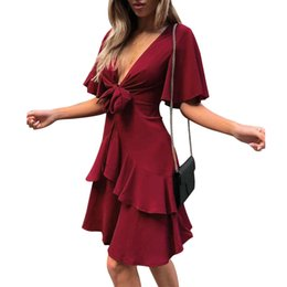 Summert Solid color 2 Color Women Sexy V Neck Tied knot lace Short Dresses  Bow Knot Layered Dress Vestidos Mini Beach Dress 3608fae8d