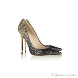 ae67c081658 Newest release 2018 luxury brand high quality designer Gradient Sequin  black blue golden Pumps Ladies Sexy High Heels Fashion shoes 36-40