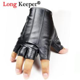Discount leather gloves long finger men - Long Keeper Male Cool Leather Gloves Fashion Men Fingerless Glove for Dance Party HalF Finger Sport Fitness Luvas Free S
