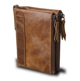 Man Business Card Holder Canada - Hot Leather Men Wallets Credit Business Card Holders Double Zipper Cowhide Leather Wallet Purse Carteira Free Shipping