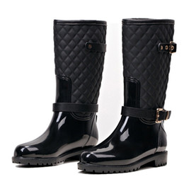 Wholesale Fashion Women Mid-calf High Heels Rain Boots Slip-On Waterproof Low Solid Size Chunky Heel Design Buckles Shoes