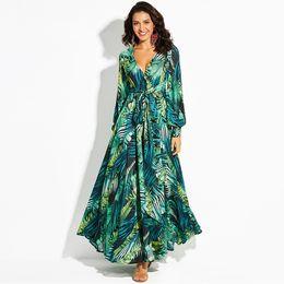 a6ed1b056b9 Fashion Vintage Maxi Dresses Long Sleeve Dress Green Tropical Print  Bohemian Dress Boho Casual V Neck Belt Lace Tunic Draped Plus Size Skirt