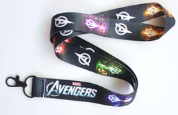 Discount neck lanyards design - Free shipping New design 10pcs Cartoon Avengers Straps Lanyard ID Badge Holders Mobile Neck Keychains For Party Gift #19