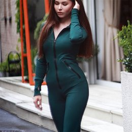 green long sleeve pants jumpsuit Australia - Sexy Long Sleeve Hooded Rompers Womens Jumpsuits Green Athleisure Zipper Open Stitch Hoodies Full Length One Piece Pants