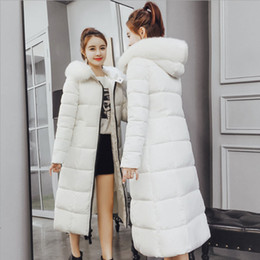 Wholesale womens hooded fur down jacket resale online - Thick Hooded Down Jacket With Fur Collar Womens Winter Puffer Coat Winter Warm Parka Long Outwear Parka with Fur Trimmed Hood