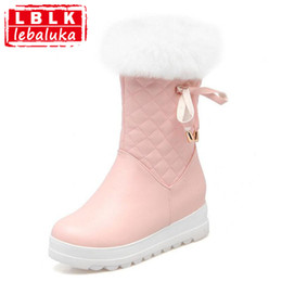 Lady Snow Boots Mid Calf Australia - Russia Women Winter Warm Snow Boots Ladies Sweet Bowtie Style Mid Calf Botas Woman Round Toe Flat Zipper Shoes Size 34-43