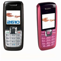 Teléfono de la barra desbloqueado FM sim stand stand por 1.36 pulgadas 2610 teléfono celular con caja de cable 2G red de radio FM llamada