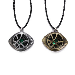 Eye Shaped Pendants Australia - Doctor Strange Necklace Eye Shape Antique Bronze Pendant With Leather Cord Movie Costume Cosplay Jewelry