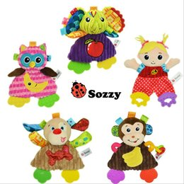Discount baby comfort cloth - Sozzy Soft Baby Handkerchief Toy Teether Crinkle Sound Rattle Plush Toy 0M+ Owl Girl Dog Comfort Appease Playmate