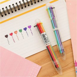 Selling Stationery School Australia - 1pcs sell 0.5mm Cute Ballpoint Pen Kawaii Six kinds of color Creative Ball Ballpen For Office School Writing Supplies Stationery