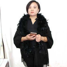 $enCountryForm.capitalKeyWord Australia - Women's 180cm solid tassel cashmere shawl scarf evening party detachable ostrich feather fur collar scarves cape autumn winter