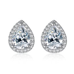 1fd3e5057 Classic Water Drop Cubic Zirconia Main Stone with Tiny CZ Paved Silver  Earrings Women Luxury Jewelry Wholesale