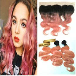 $enCountryForm.capitalKeyWord NZ - Two Tone 1b Rose Gold Body Wave 13x4 Lace Frontal Ombre Pink Color Virgin Unprocess Brazilian Human Hair Lace Frontal Baby Hair