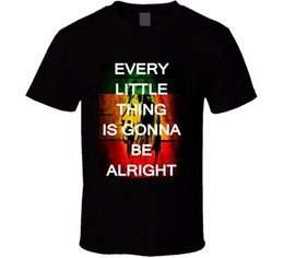 Printed T Shirt Machines Australia - Best T Shirts Men's Every Little Thing Is Gonna Be Alright Rastafarian Quote Cool T Shirt Short Printing Machine O-Neck T Shirts