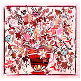 $enCountryForm.capitalKeyWord Australia - New Twill Silk Scarf Women Pot Floral Printing Square Scarves Fashion Wraps Female Foulard Large Hijab Big Shawl Neckerchief 130cm*130CM