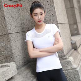 95cbcbc8b9 CrazyFit 2018 Sport T-shirt Shirt Women Yoga Fitness Top Apparel Sports Clothing  Wear Gym Running Workout Ladies White Yoga Tops