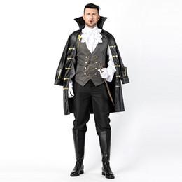 $enCountryForm.capitalKeyWord Australia - Vampire Count Dracula Costume Halloween Mens Knight Outfit Captain Pirate Fantasia Nightclub Fancy Dress Black W158860