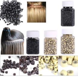 1000 pezzi / bottiglia rivestiti in silicone Micro link Anelli Perline Estensioni piuma di capelli 7 colori Anello micro anello in silicone opzionale in Offerta