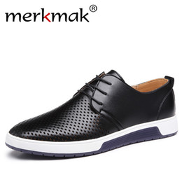 Men's Breathable Summer Shoes Australia - Merkmak New 2018 Men Casual Shoes Leather Summer Breathable Holes Luxury Brand Flat Shoes for Men Drop Shipping