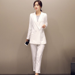$enCountryForm.capitalKeyWord Australia - Jacket Pants White Women Business Suits Double Breasted Ladies Office Uniform Elegant Pant Suits Female Trouser Suit Custom Made