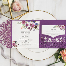 Wholesale Classic Fall Magenta Shades Of Purple Floral Pocket Laser Cut Wedding Invitations With Envelope Free Shipped by UPS
